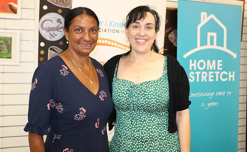 Nova Peris OAM and carer Effie at the Home Stretch launch in Darwin
