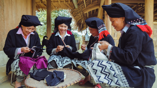 A women's brocade group in Da Bac District, Vietnam