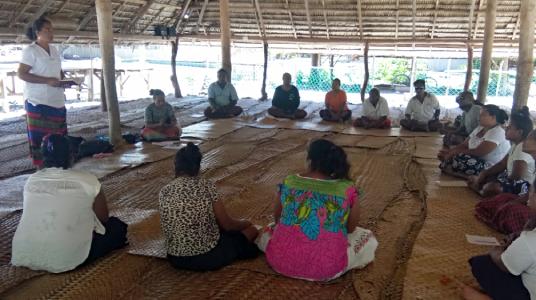 Community representatives attend hygiene and agriculture training in Kiribati