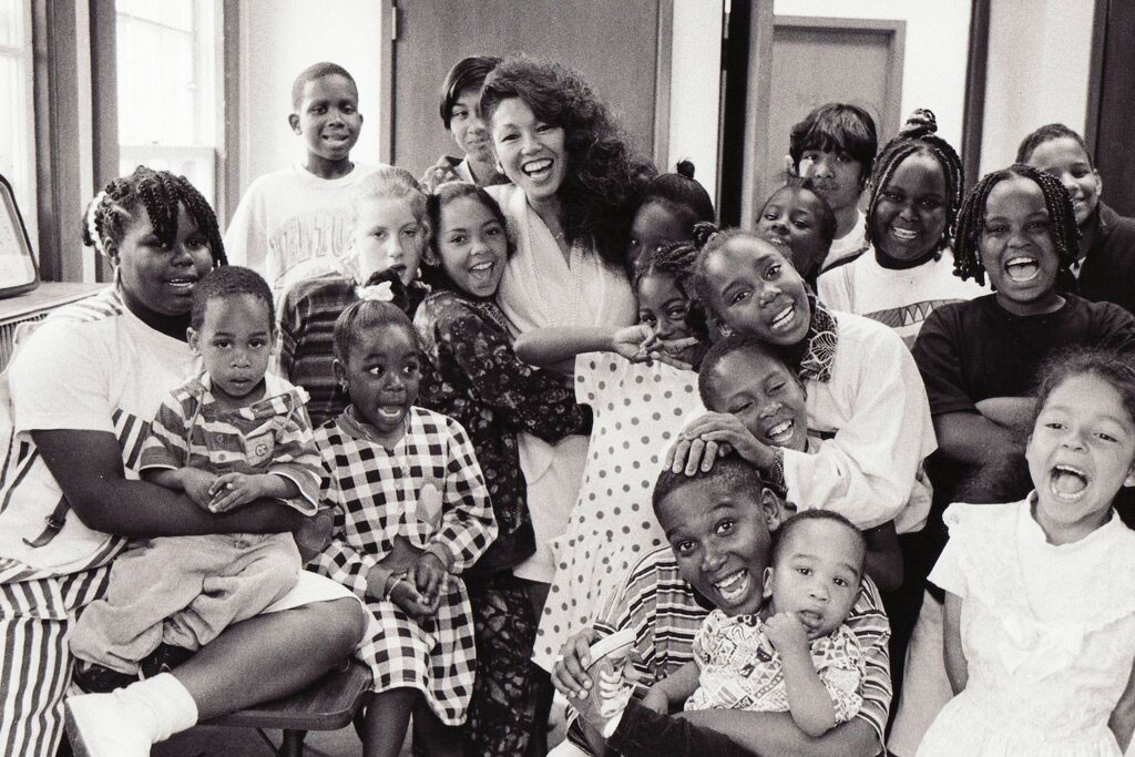 Janice with children