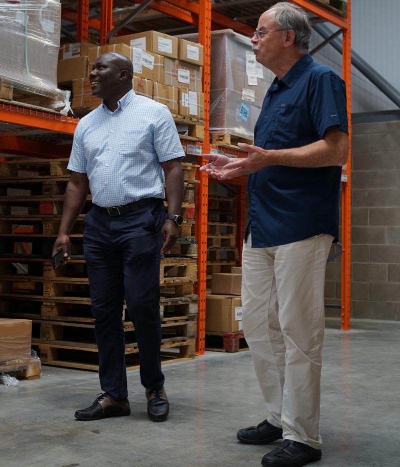 John Libby and Tayo Arikawe at new Langham Service Centre